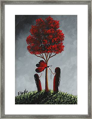 Red And Grey Surreal Art Framed Print by Shawna Erback