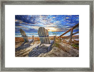 Summer At The Shore Framed Print by Debra and Dave Vanderlaan