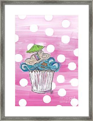 Summer Bear Cuppy Cake Framed Print by Cheryl Seagraves
