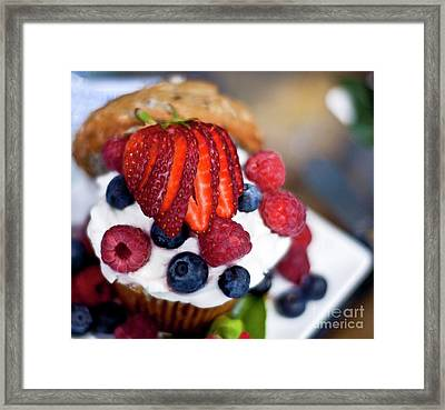 Summer Berries And Cream Framed Print