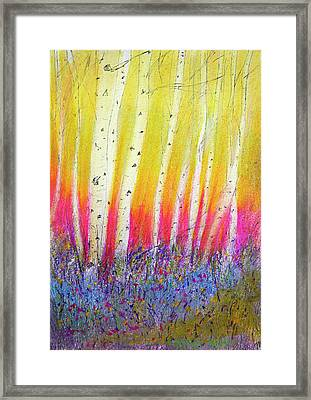 Framed Print featuring the pastel Summer Birch  by Linde Townsend