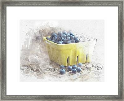 Framed Print featuring the digital art Summer Blueberries by Sue Collura
