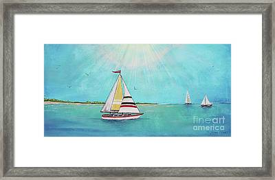 Framed Print featuring the painting Summer Breeze-b by Jean Plout