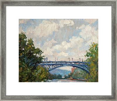 Summer Clouds Henry Hudson Bridge From Inwood Nyc Framed Print by Thor Wickstrom