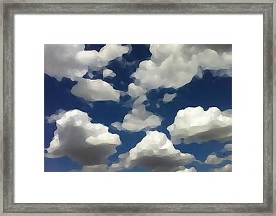Framed Print featuring the digital art Summer Clouds In A Blue Sky by Shelli Fitzpatrick