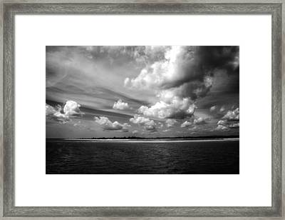 Summer Clouds In Back And White Framed Print