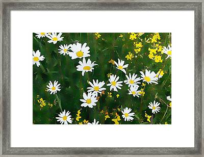 Framed Print featuring the digital art Summer Daisies by Julian Perry
