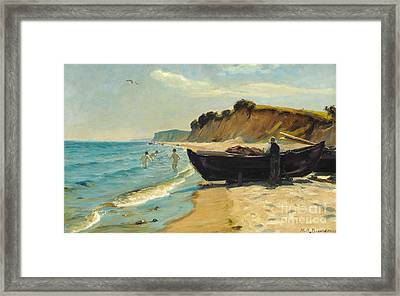 Summer Day At The Beach With Bathing Boys And Fishing In A Boat Framed Print