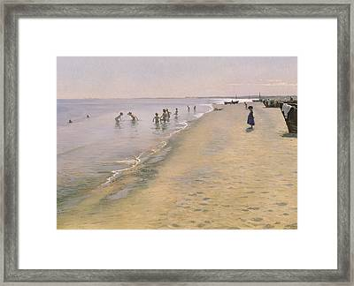 Summer Day At The South Beach Of Skagen Framed Print by Peder Severin Kroyer