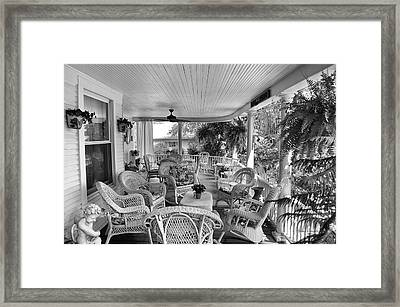 Summer Day On The Victorian Veranda Bw 01 Framed Print
