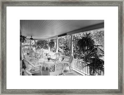 Summer Day On The Victorian Veranda Bw 03 Framed Print