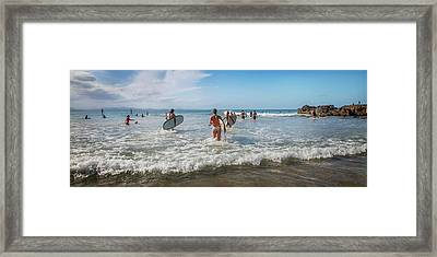 Framed Print featuring the photograph Summer Days Byron Waves by Az Jackson