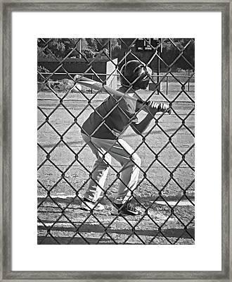 Summer Days - Little League Batter 1b - Bw Framed Print