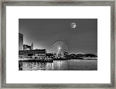 Summer Eve On The Seattle Waterfront Framed Print