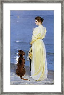 Summer Evening At Skagen - The Artist's Wife And Dog By The Shore Framed Print