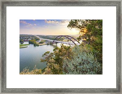 Summer Evening At The 360 Bridge Near Austin Texas Framed Print
