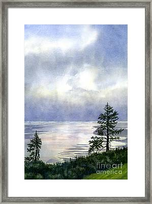 Summer Evening Clouds Over Bay With Trees Framed Print