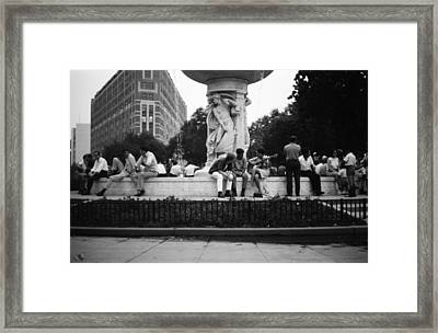 Summer Evening Dupont Circle Washington Dc Vintage 1966 Framed Print by Wayne Higgs