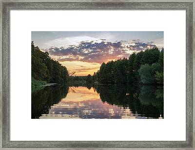 Summer Evening On Snov River. Sedniv, 2015. Framed Print