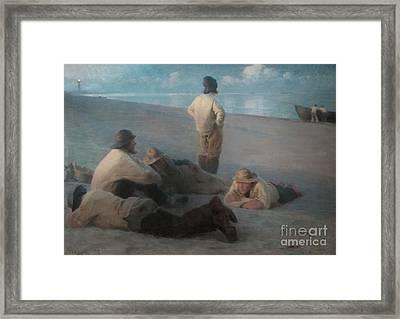 Summer Evening On The Beach At Skagen, 1884  Framed Print