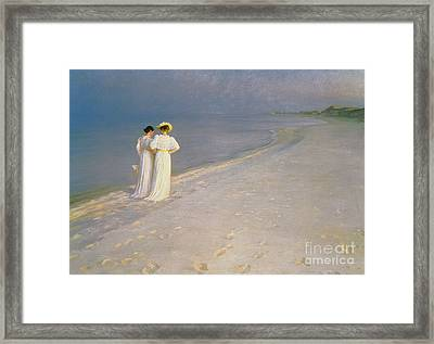 Summer Evening On The Skagen Southern Beach With Anna Ancher And Marie Kroyer Framed Print by Peder Severin Kroyer