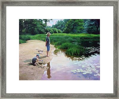Framed Print featuring the painting Summer Fishing by Sergey Zhiboedov