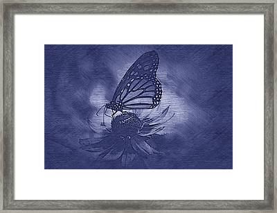 Summer Floral With Monarch Butterfly 02 Blue Framed Print