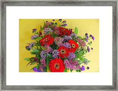 Framed Print featuring the photograph Summer Flower Bouquet by Byron Varvarigos