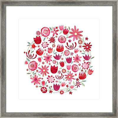 Summer Flower Circle Framed Print by Nic Squirrell