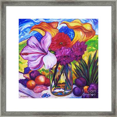 Summer Flowers On The Sill Framed Print