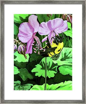 Framed Print featuring the painting Summer Garden Bumblebee And Flowers Nature Painting by Linda Apple