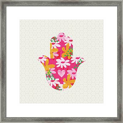 Summer Garden Hamsa- Art By Linda Woods Framed Print by Linda Woods