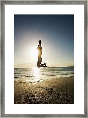 Summer Girl Summer Jump  Framed Print by Amyn Nasser