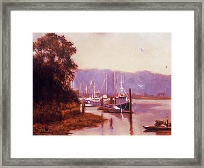 Summer Heat  Long Island Port Framed Print by David Olander