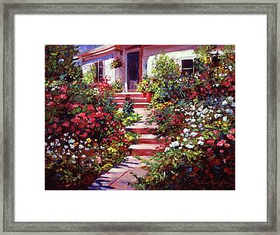 Summer Holiday Cottage Framed Print by David Lloyd Glover