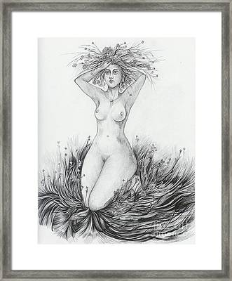 Framed Print featuring the drawing Summer II by Anna  Duyunova