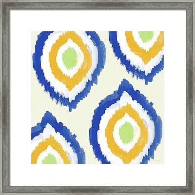 Summer Ikat- Art By Linda Woods Framed Print