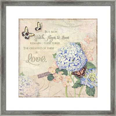 Summer Memories - Blue Hydrangea N Butterflies Faith Hope And Love Framed Print by Audrey Jeanne Roberts