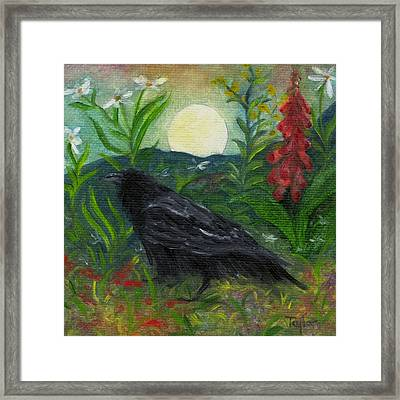 Summer Moon Raven Framed Print