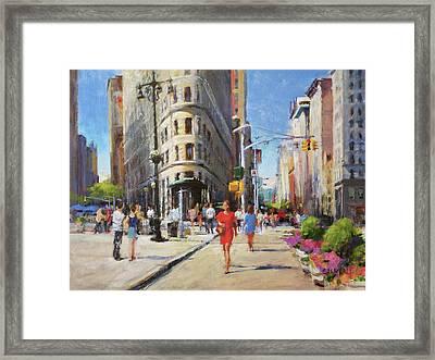 Summer Morning At Flatiron Plaza Framed Print by Peter Salwen