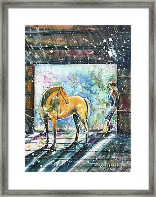 Framed Print featuring the painting Summer Morning At The Barn by Zaira Dzhaubaeva