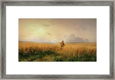 Summer Morning In The Rye Field Framed Print