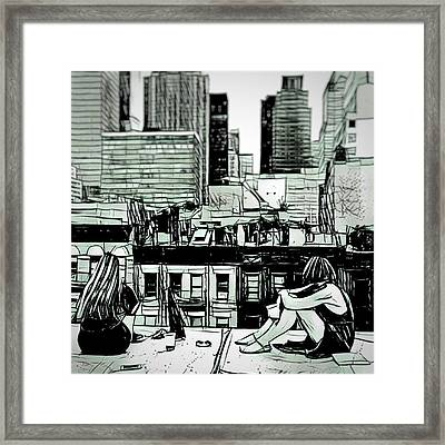 Summer Night In The City Sketch Drawing Framed Print by MendyZ