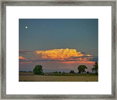 Framed Print featuring the photograph Summer Night Storms Brewing And Moon Above by James BO Insogna