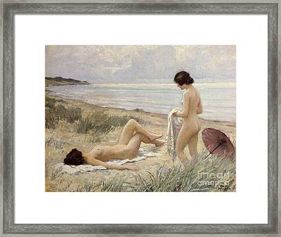 Summer On The Beach Framed Print by Paul Fischer