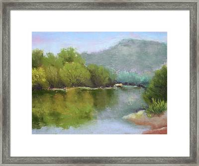 Framed Print featuring the painting Summer On The River by Nancy Jolley