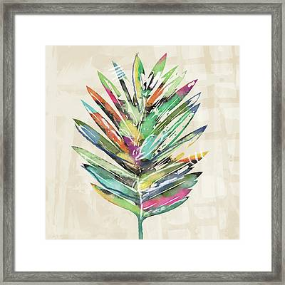 Framed Print featuring the mixed media Summer Palm Leaf- Art By Linda Woods by Linda Woods