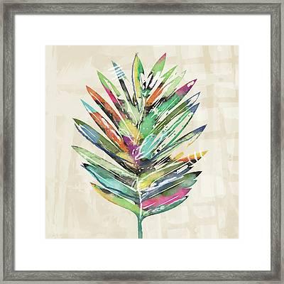 Summer Palm Leaf- Art By Linda Woods Framed Print by Linda Woods