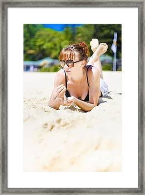 Summer Portrait Of Relaxation Framed Print