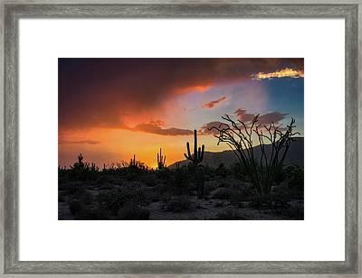 Summer Rain Sunset  Framed Print